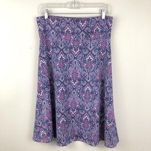 Lularoe Azure Blue and Pink Damask Print Skirt